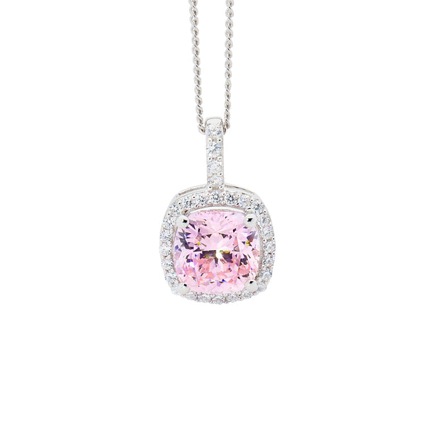 Light Pink Cubic Zirconia Halo Pendant