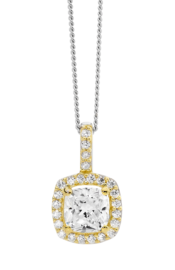Sterling silver Cubic Zirconia pendant with cushion halo and yellow gold plating