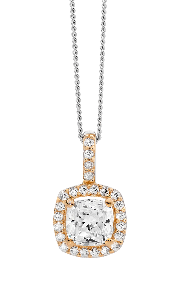 Cubic Zirconia Rose Cushion Halo Pendant
