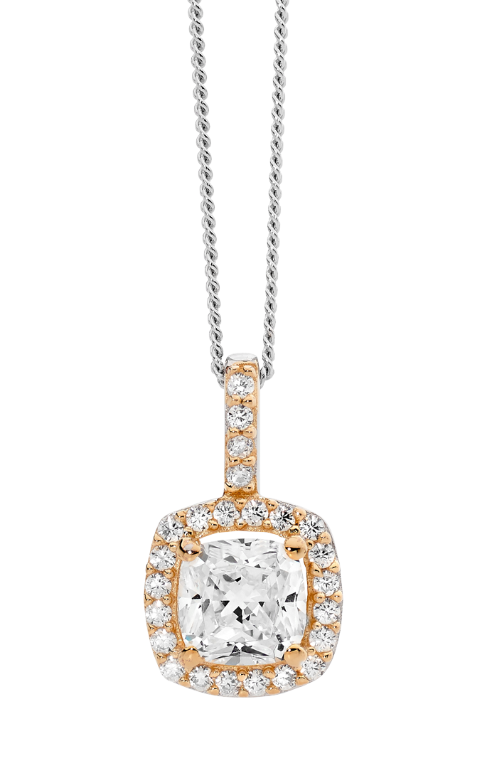 Sterling silver Cubic Zirconia pendant with cushion halo and rose gold plating
