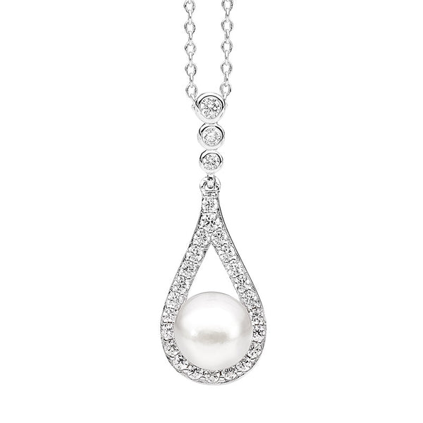 Freshwater Pearl & Cubic Zirconia Pendant