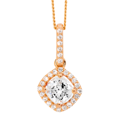Sterling Silver Rose Gold plated cushion Cubic Zirconia drop halo pendant