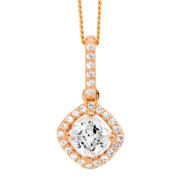 Cubic Zirconia Rose Cushion Drop Halo Pendant