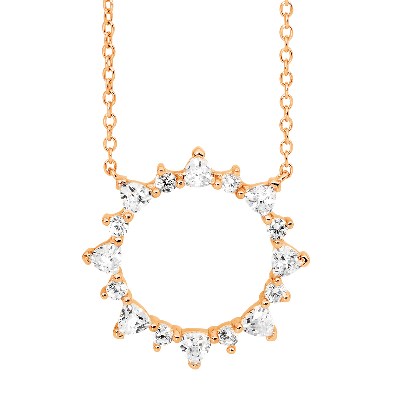Sterling Silver with Rose Gold plating open circle pendant with trillion & round white Cubic Zirconia