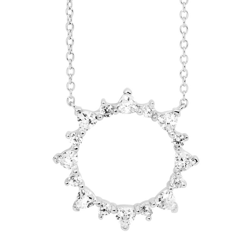 Sterling Silver open circle pendant with round & trillion white Cubic Zirconia