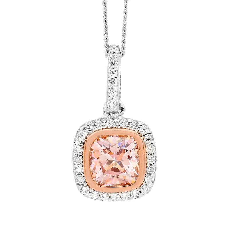 Cubic Zirconia Morganite-Colour Silver Halo Pendant