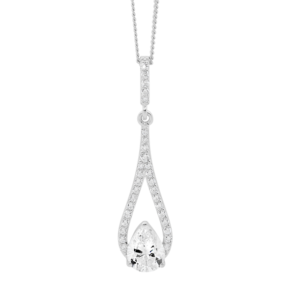 Cubic Zirconia Open Tear Drop Pendant