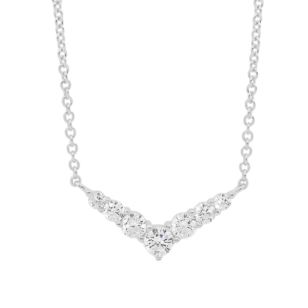 Cubic Zirconia 'V' Pendant with Chain