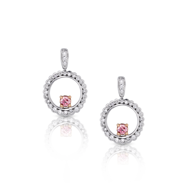 Pink and White Diamond Drop Earrings