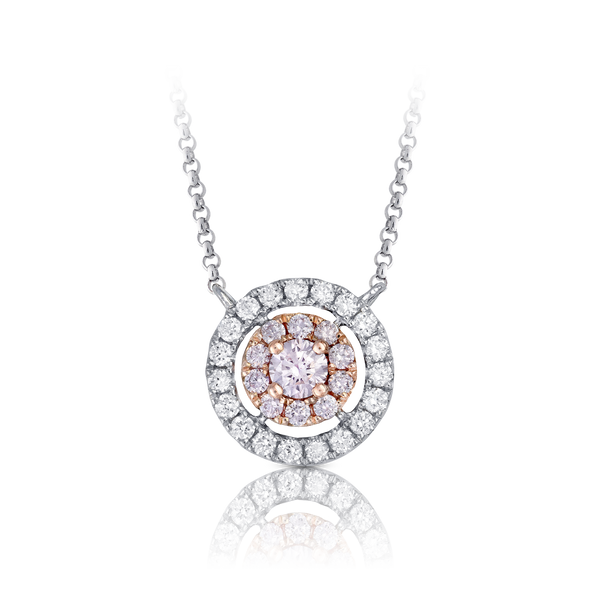 Pink and White Diamond Halo Necklace