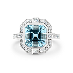 'Gatsby' Aquamarine & Diamond Halo Ring