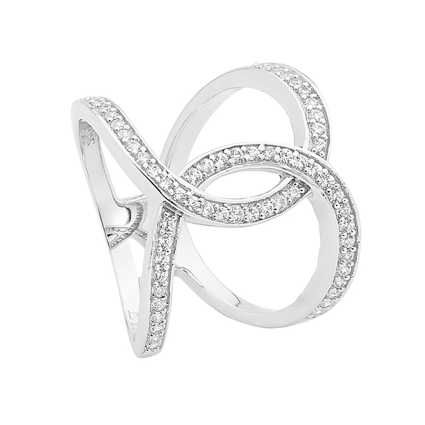 Sterling silver Cubic Zirconia linked circle ring