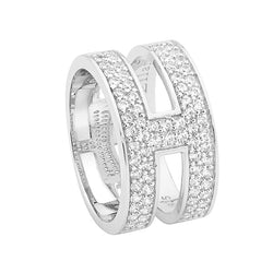 Double Row Cubic Zirconia Split Band With Centre Bar Ring