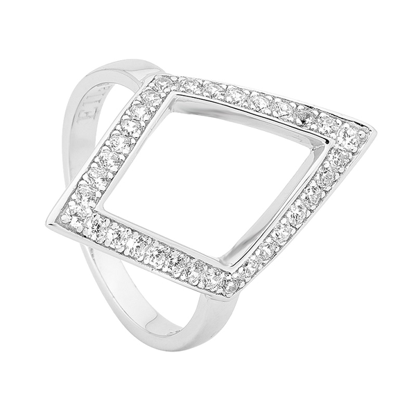 Sterling silver Cubic Zirconia open shape ring