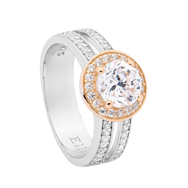 Cubic Zirconia Halo Double Band Ring