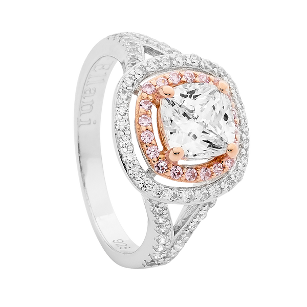 Sterling Silver pink and white Cubic Zirconia double halo split ring