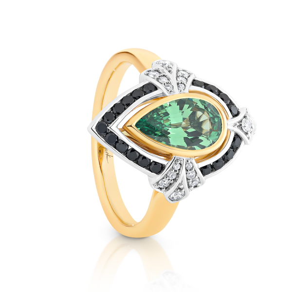Tsavorite Garnet and Black Diamond Ring