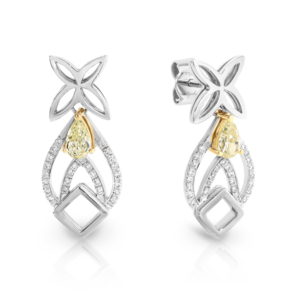 Handmade Yellow Diamond Drop Earrings