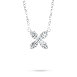 18ct White Gold Diamond Flower Pendant