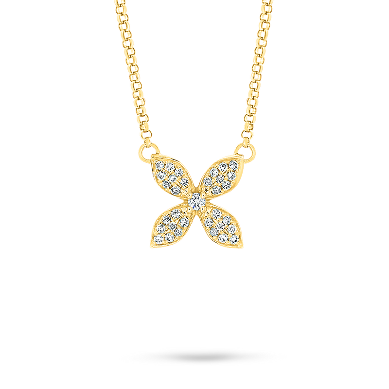 18ct Yellow Gold Diamond Flower Pendant
