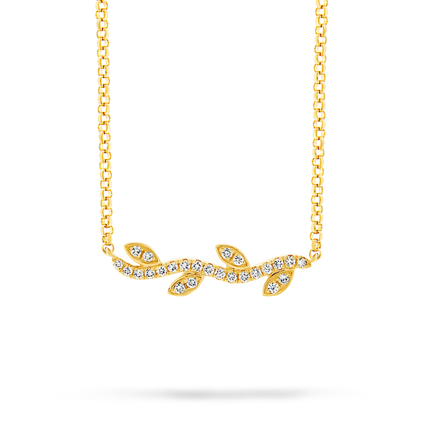 18ct yellow gold diamond vine leaf pendant