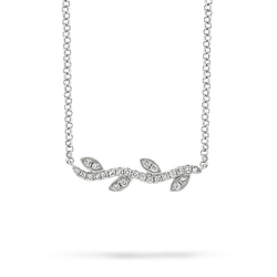 18ct white gold diamond vine leaf pendant