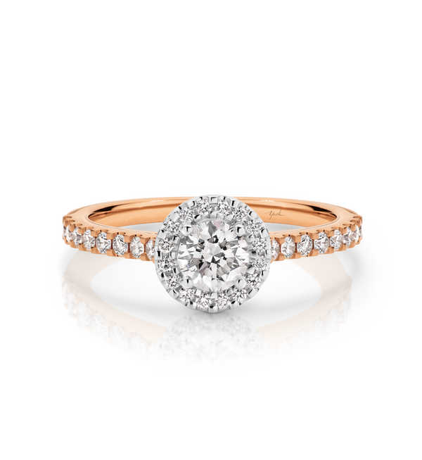 Laura-Rose Gold-Round Brilliant Cut Diamond Halo Engagement Ring with Diamond Set Band