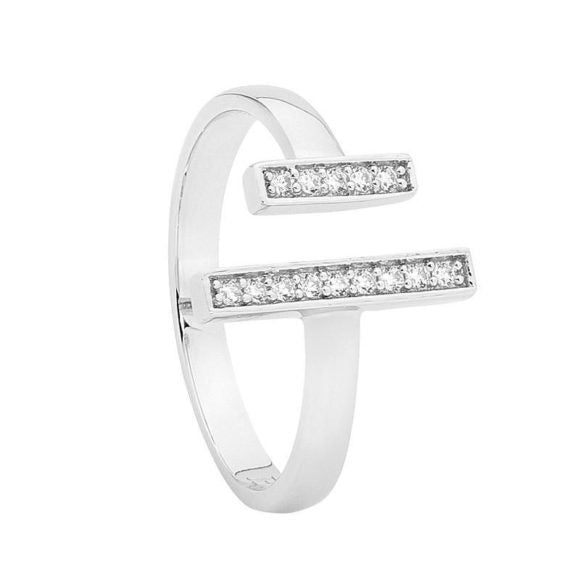 Cubic Zirconia Open 2 Length Double Bar Ring