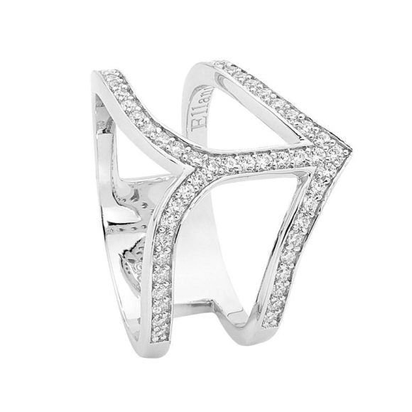 Split Band Arrow Ring With Centre Bar