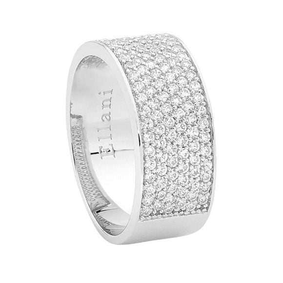 Six Row Pave Ring With Raised Edge