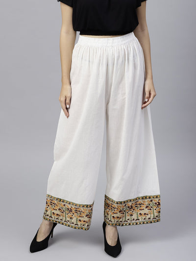 White ankle length cotton regular fit palazzo with border printed