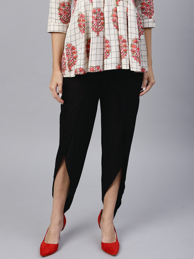Black ankle length cotton tulip pant