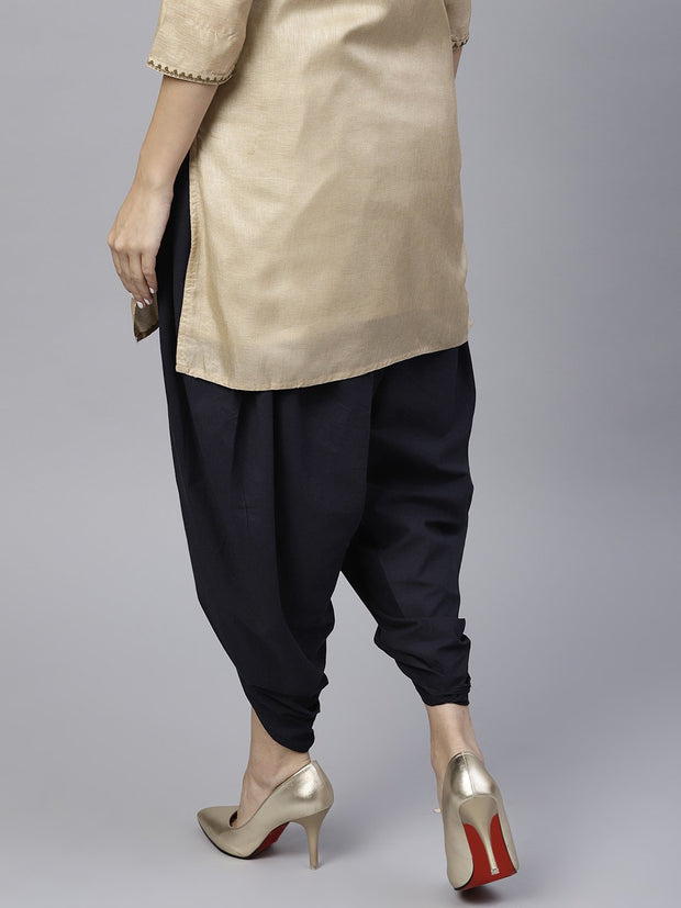 Navy blue ankle length cotton dhoti pant