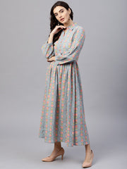 Powder blue printed Maxi Dress with Shirt collar and full sleeves