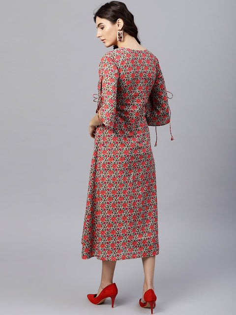 Floral multi Printed A-Line Kurta with Keyhole neck and 3/4 sleeves