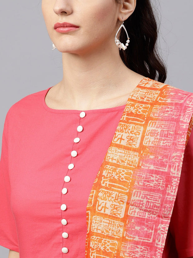 Round Neck Pink Kurta with Palazzo and multi colored dupatta