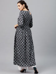 Round neck Black & white printed maxi dress with 3/4 sleeves and Emblished with tassels