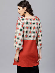 multi colored dress with boat neck and 3/4 flared sleeves