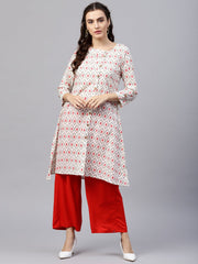Multi colored kurta with half sleeves and v-neck