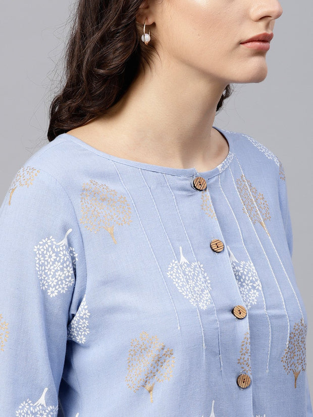 Round neck Light Blue printed tunic with front placket and 3/4 sleeves