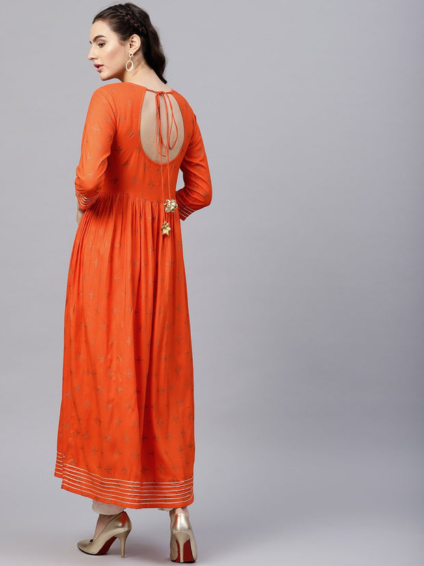 Rusty Orange printed kurta with round neck and 3/4 Flared sleeves