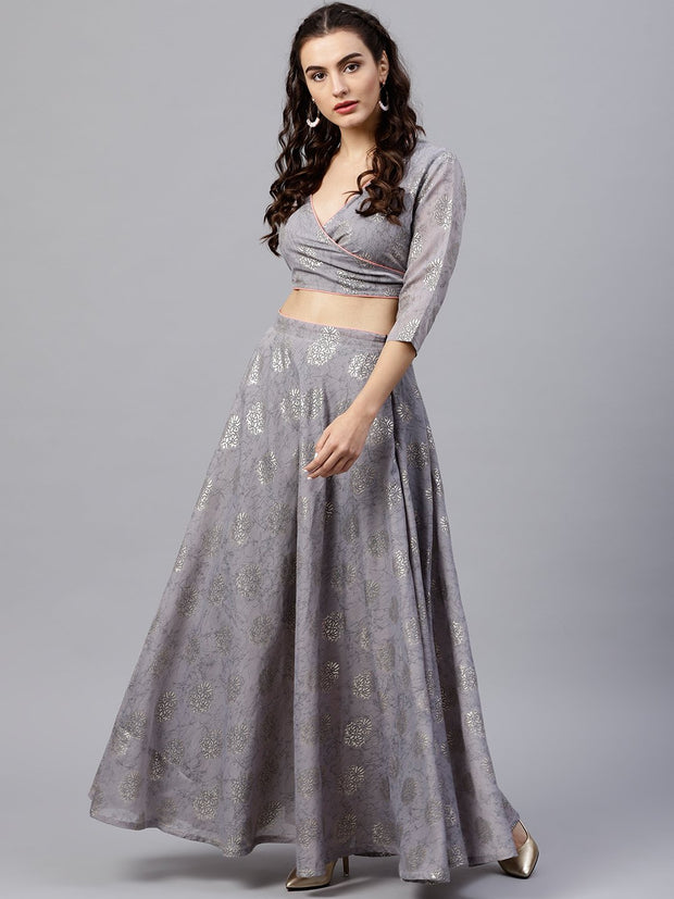Silver grey printed set of blouse and skirt