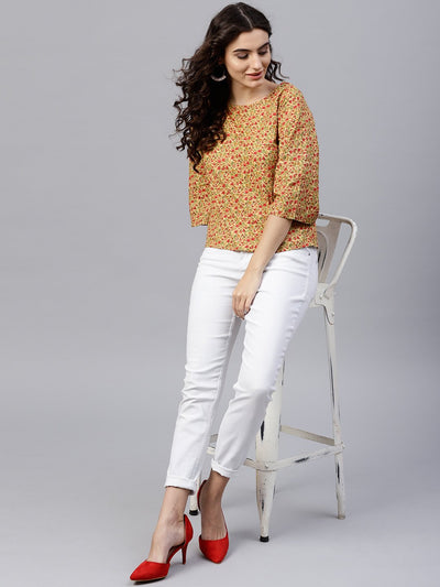 Multi Printed top with round neck and 3/4 flared sleeves