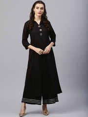 Black round neck kurta with frond emblishment and Palazzo