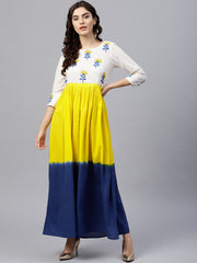 Multi Colored Ombre dyed maxi dress with round neck and 3/4 sleeves