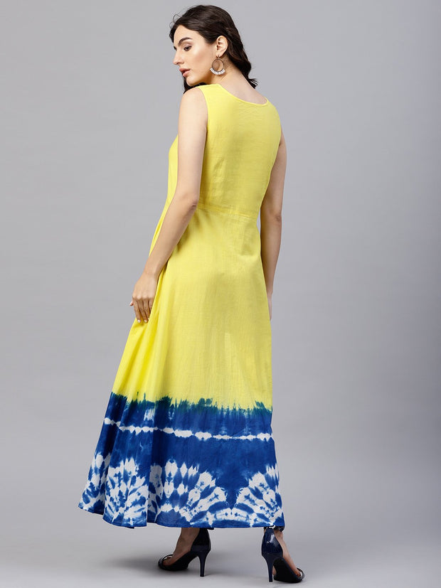 Sleeveless Multi colored Multi dress Tie and dye Maxi dress with Round neck