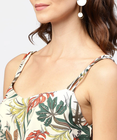 Off white printed shoulder straps crepe top