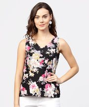 Black Printed cutways sleeveless crepe tops
