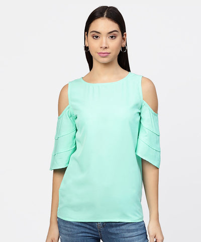 Sea green cold shoulder layered sleeve crepe top