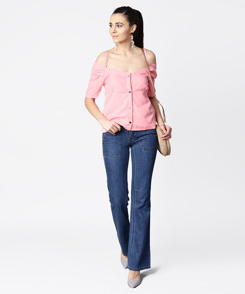 Solid half cold shoulder sleeve crepe top